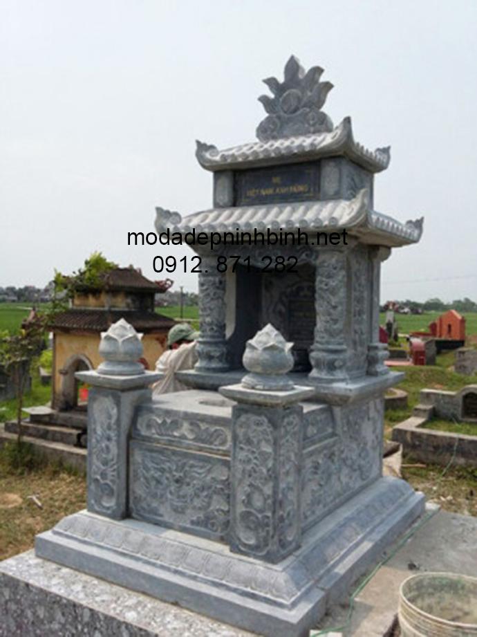 Mẫu mộ đá hai mái đẹp 002