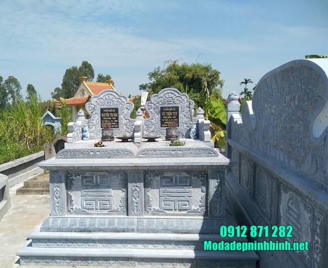 mẫu mộ đá đôi đẹp tại Bắc Giang